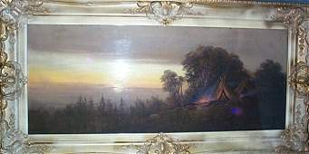 43: Pastel Impressionist painting depicting a Native Am