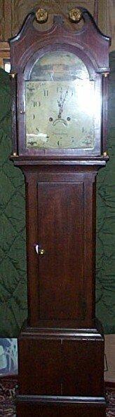 202: 19th century English tall case clock with inlay ba