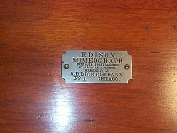 1060: Edison Mimeograph Patent 1880, Made by AB Dick Co - 2