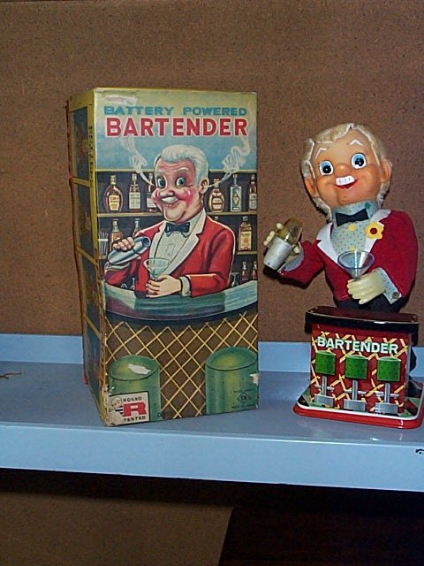 1503: Rosko Toy Battery Operated Bartender with Origina