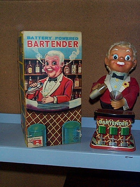1504: Rosko Toy Battery Operated Bartender with Origina