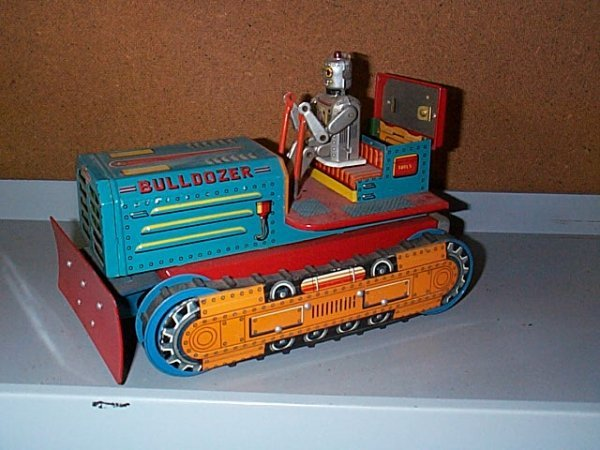 1522: Japanese Battery Operated Toy Bulldozer with Robo