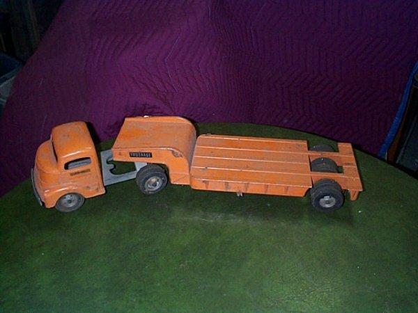 1736: Smith Miller Toy Tractor Trailer Metal, Fruehauf