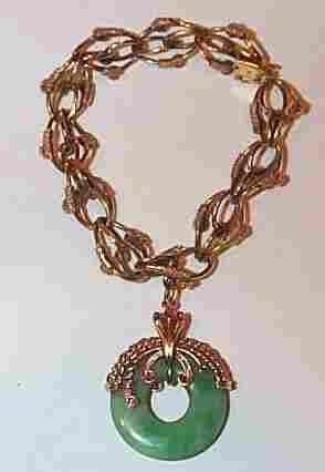 18K Jadeite and Ruby Charm Bracelet