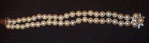 16: 14K Double Strand Cultured Pearl Bracelet