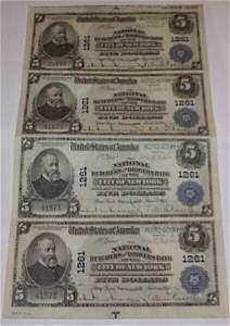 134: (4) Uncut 5 Dollar 1902