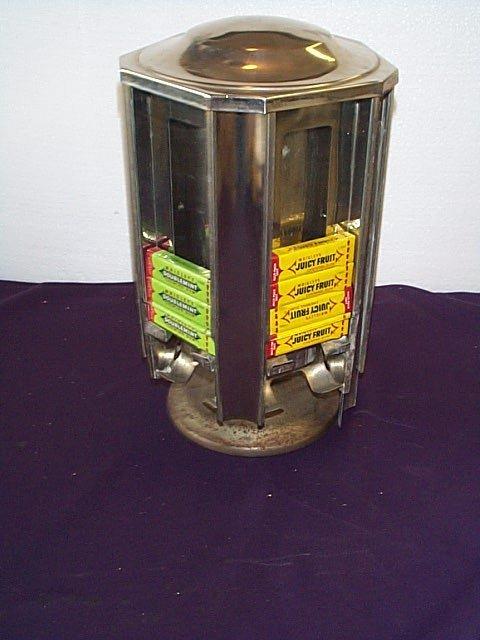 1003: Chrome 1950's Rotating Gum Dispenser Base has lig