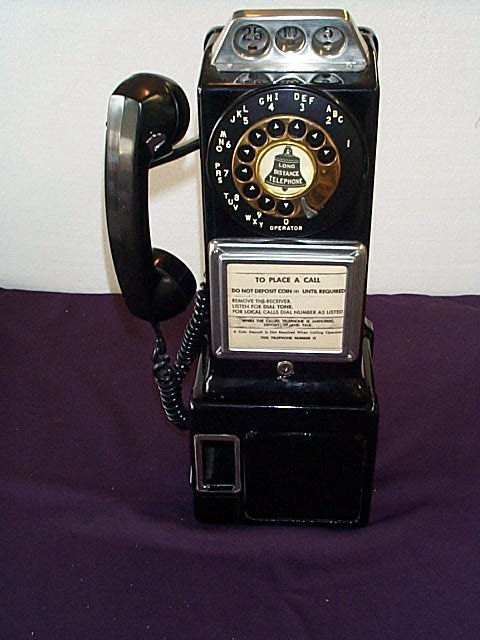 1005: 1950's Pay Phone Automatic Electric Bell System,