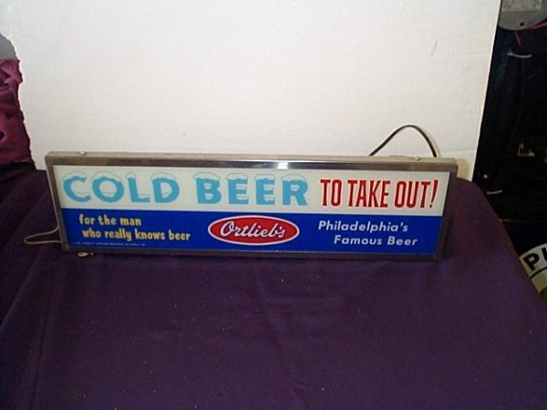 1006: Vintage 1950's Lighted Sign Ortlieb's Cold Beer,