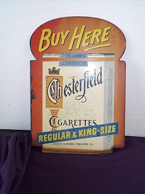 1008: Chesterfield Cigarettes Porcelain Wall Mount Adve