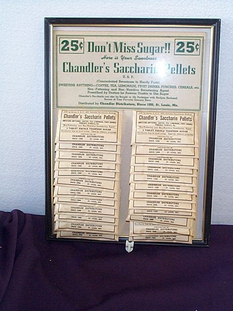 1009: 1950's Chandler's Saccharin Pellets Sale Display