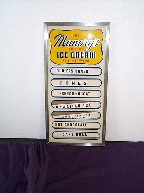 1011: 1950's Manory's Famous Ice Cream Flavor Display S