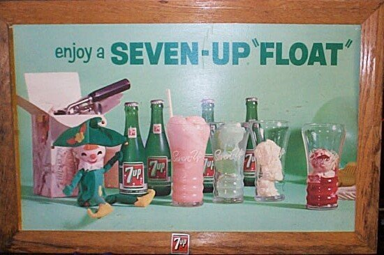1016: Framed Double Sided 7-Up Soda 1950's, 60's Advert
