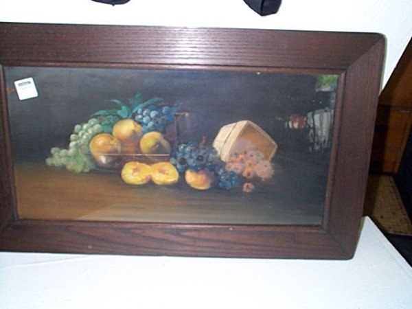 5: 19th century still life pastel depicting grapes, pea