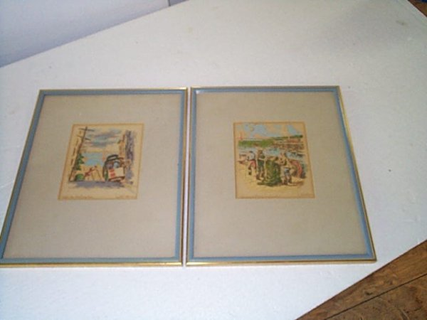 8: Pair of watercolors signed Ralph Thompson.  One enti