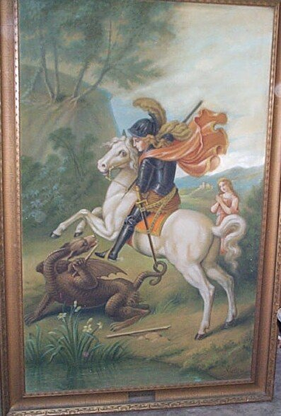 13: Oversized oil on canvas depicting St. Michael slayi