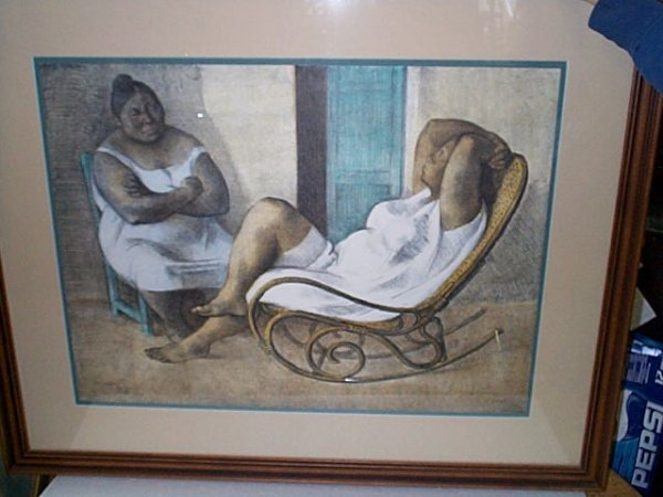 20: Framed print depicting two African American women.
