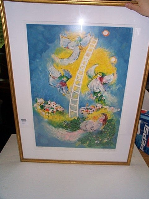 22: Signed lithograph depicting a ladder going to the s