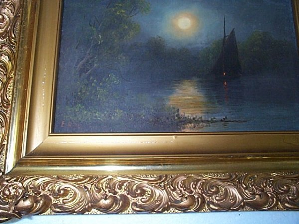 24: Oil on canvas depicting a sailboat sailing on a lak