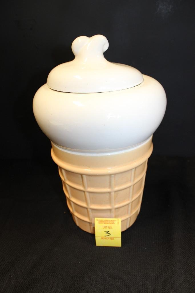 Ceramic Ice Cream Cone Cookie Jar