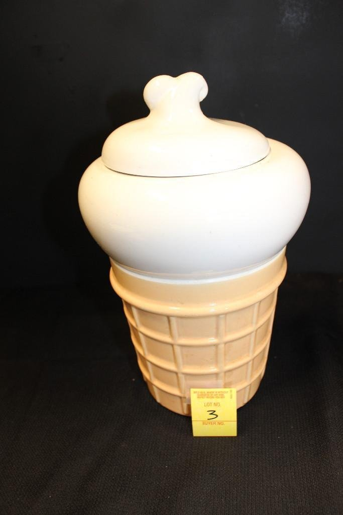 Ceramic Ice Cream Cone Cookie Jar - 2