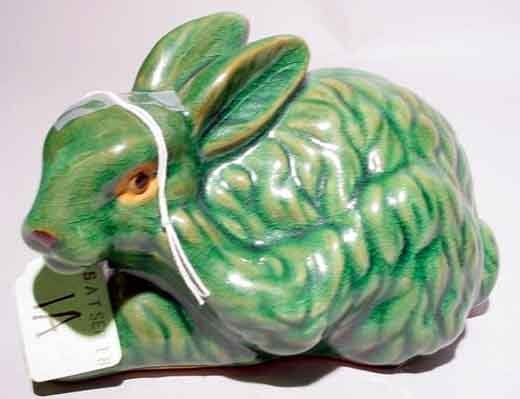 1A: MAJOLICA DECORATED GREEN GLAZED FIGURE OF A BUNNY