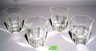 SET OF FOUR HEXAGONAL CRYSTAL OLD FASHIONS