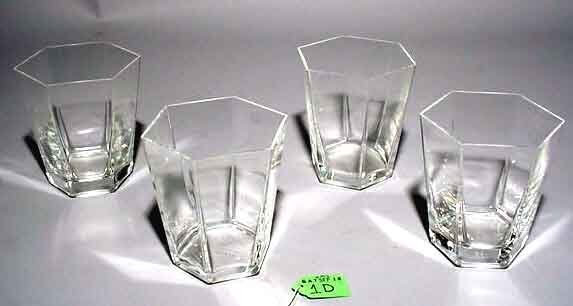 1D: SET OF FOUR HEXAGONAL CRYSTAL OLD FASHIONS