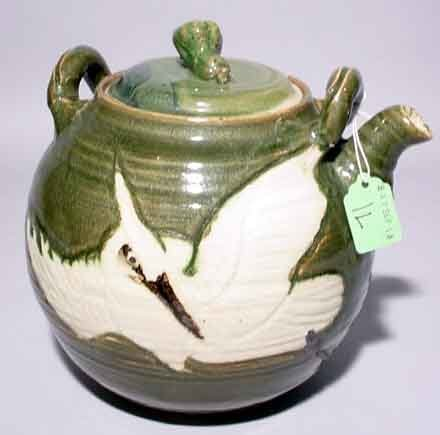 1L: GLAZED AND DECORATED ORIENTAL CERAMIC WATER KETTLE