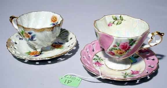 1P: LOT OF TWO FLORAL DECORATED CHINA CUPS AND SAUCERS