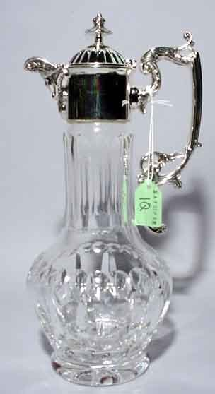 1Q: SILVERPLATED AND CUT CRYSTAL TALL EWER
