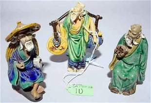 LOT OF THREE CHINESE GLAZED MUD FIGURES OF TRADESME