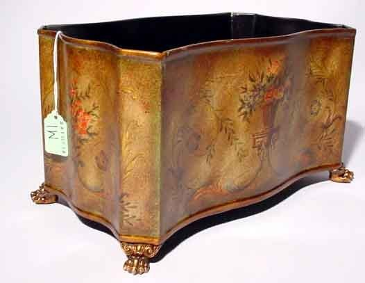 1W: DECORATED TOLE RECTANGULAR SHAPED PLANTER