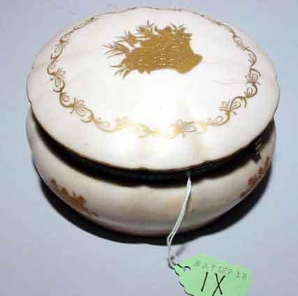 1X: CIRCUALR GILT METAL MOUNTED HINGED PORCELAIN VANITY