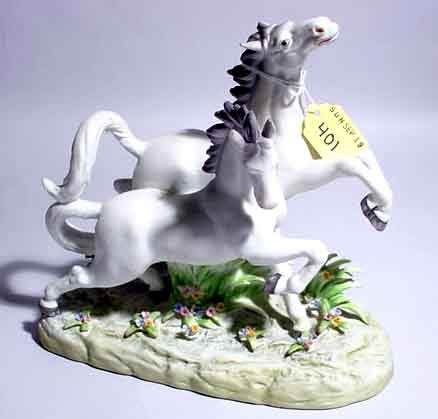 401: ANDREA DECORATED BISQUE PORCELAIN FIGURAL GROUP