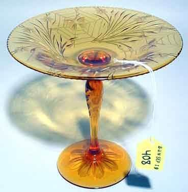 408: AMERICAN AMBER GLASS COMPOTE