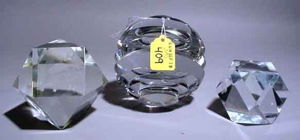 409: LOT OF THREE GLASS PAPER WEIGHTS