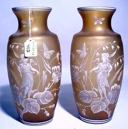 412: PAIR OF MARY GREGORY DESIGN ENAMEL DECORATED GLASS