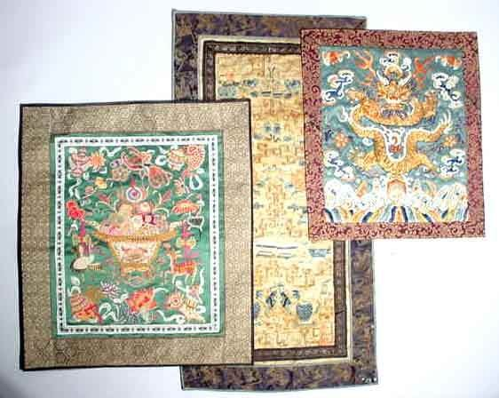 414: LOT OF THREE ASSORTED CHINESE FRAMED AND EMBROIDER