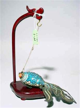 WELL CRAFTED CHINESE ENAMEL SCULPTURE OF A SWIMMING