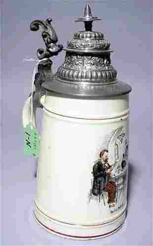 IVORY COLORED GERMAN PORCELAIN BEER STEIN WITH DUMO