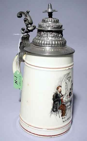 1N: IVORY COLORED GERMAN PORCELAIN BEER STEIN WITH DUMO