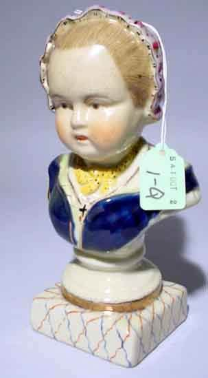 DECORATED CONTINENTAL CHINA BUST OF A YOUNG GIRL