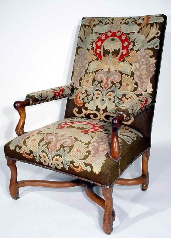 115A: LOUIS XIV STYLE NEEDLEPOINT UPHOLSTERED ARMCHAIR