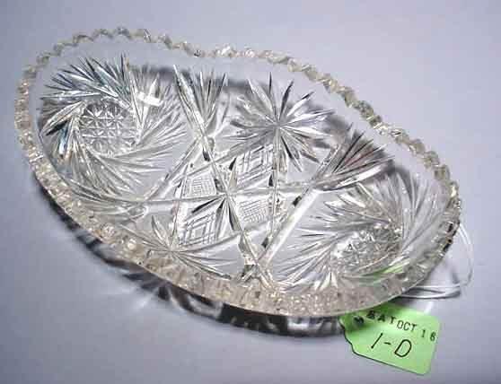 1D: OVAL CUT GLASS RELISH DISH,