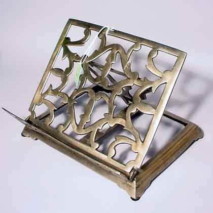 1N: PEWTER FINISHED BRASS ADJUSTABLE BOOK STAND