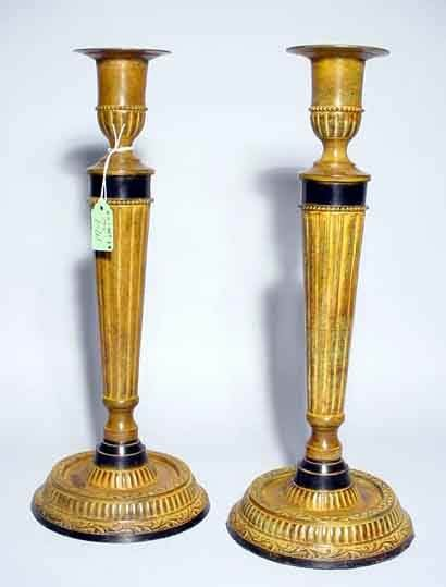 1W: PAIR OF DECORATED RUST FINISHED BRASS CANDLESTICKS
