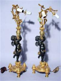 93: PAIR OF FINELY CHASED AND DETAILED PUTTI FIGURED PA