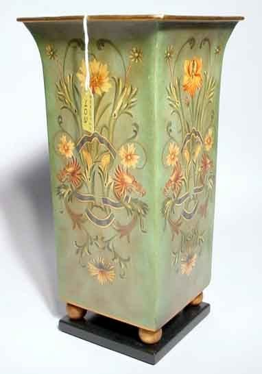 402: REGENCY STYLE FLORAL DECORATED SQUARE TOLE VASE