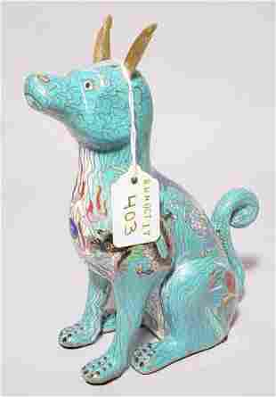 CLOSIONNE FIGURE OF A SEATED DOG